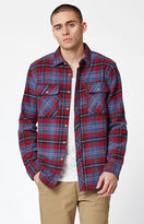 Brixton Bowery Navy Plaid Flannel Long Sleeve Button Up Shirt