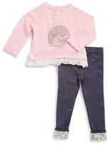 Little Lass Girls 2-6x Gemstone Emoji Pullover and Leggings Set