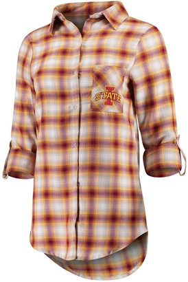 Women's Concepts Sport Maroon/Gold Iowa State Cyclones Forge Flannel Long Sleeve Button-Up Shirt