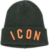 DSQUARED2 ICON embroidered beanie hat