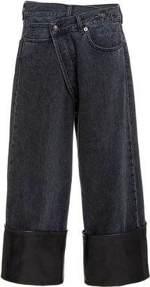 R 13 Crossover Leather-Cuff Wide-Leg Jeans