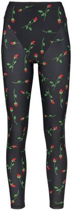 Adam Selman rose print French-cut leggings