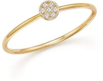 Chicco Zoë 14K Yellow Gold Itty Bitty Round Disc Pavé Diamond Stack Ring