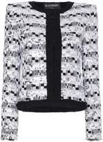 Balmain sequin embellished cotton blend jacket