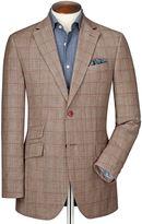 Charles Tyrwhitt Classic Fit Red Checkered Linen Mix Linen Jacket Size 38