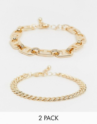 Asos Design DESIGN pack of 2 bracelets in open link and flat curb chain design in gold tone-Silver