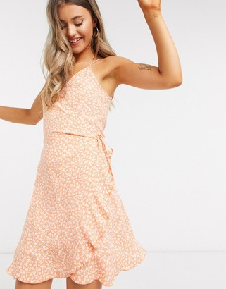 Pimkie wrap detail cami dress in orange floral print