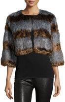 Neiman Marcus Cropped Leopard-Stripe Faux-Fur Jacket, Gray