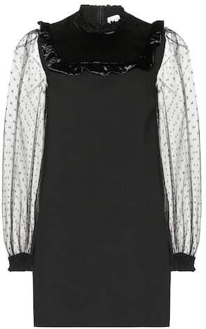 RED Valentino Jersey, velvet and mesh minidress