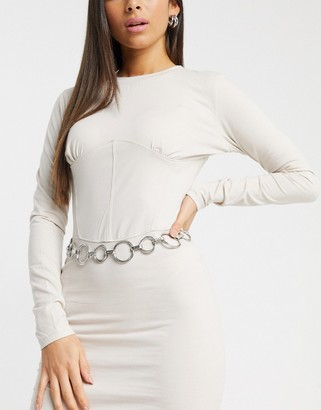 ASOS DESIGN circle chain waist and hip belt in silver