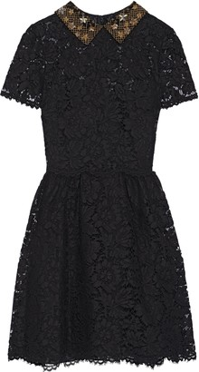 Valentino Embellished Cotton-blend Corded Lace Mini Dress