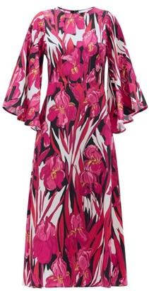 La DoubleJ Sorella Peony-print Hammered-silk Dress - Pink Multi
