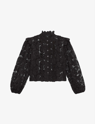 The Kooples Buttoned lace cropped shirt