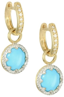 Jude Frances Provence 18K Yellow Gold, Diamond & Turquoise Pave Trio Earring Charms