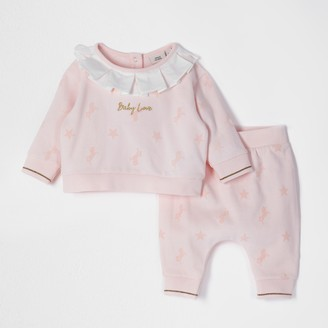 River Island Pink flock print collar sweat outfit
