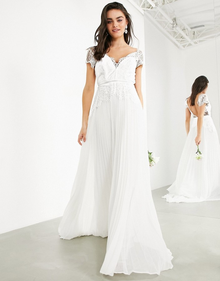 ASOS EDITION Sophia Plunge Lace Wedding Dress With Pleated Skirt
