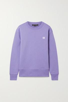 Acne Studios Fairview Face Appliqued Brushed Cotton-jersey Sweatshirt - Lilac