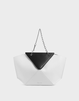 Charles & Keith Two-Tone Thin Chain Handle Sculptural Tote