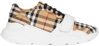 Burberry white, yellow and black Vintage Check Cotton Sneakers