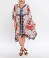 Flying Tomato Ivory Floral Handkerchief Dress - Plus