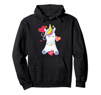 Unicorn Love Heart Valentines Day Gifts For Women Girls Pullover Hoodie