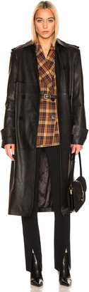 REMAIN Pirello Leather Trench Coat in Black | FWRD