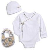 Burberry Infant Girl's 'Kallie' Long Sleeve Wrap Bodysuit, Bib & Hat