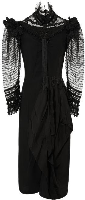 Marc Jacobs Black Satin Back Crepe Victorian Dress
