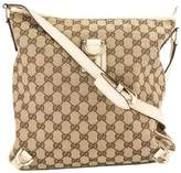 Gucci Ivory Leather GG Monogram Canvas Abbey D-Ring Messenger Bag