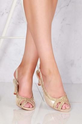 Miss Diva Tara low kitten heel open toe sling back shoe in Gold