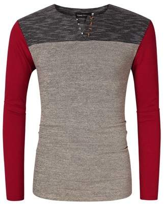 Glowsol Mens Casual Slim Fit Long Sleeve Contrast Color Henley Neck T-Shirt Burgundy S