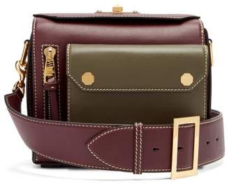 Alexander McQueen Military Two-tone Leather Box Bag - Womens - Burgundy Multi