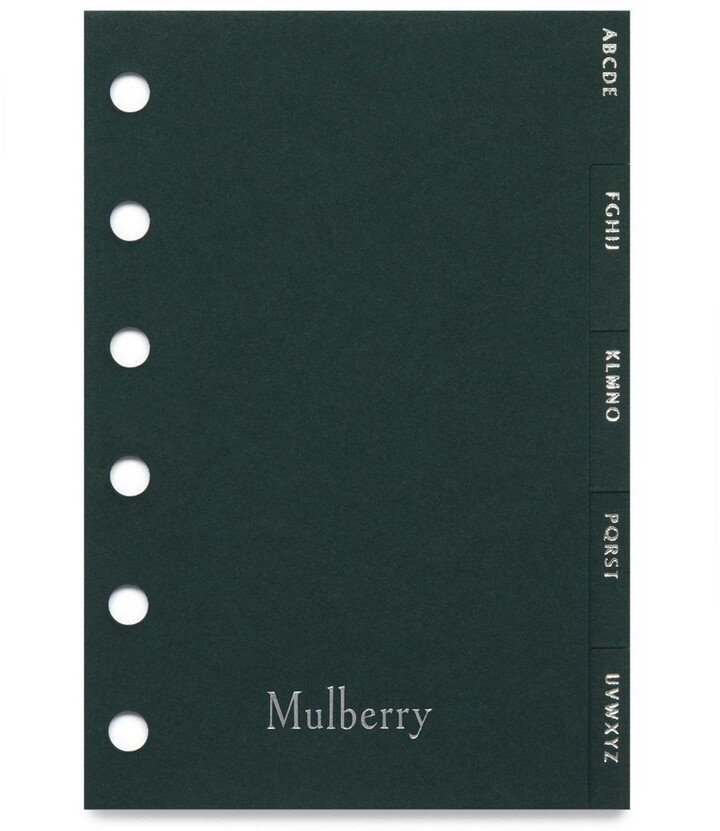 Mulberry Pocket Book Contacts Dividers Green Paper