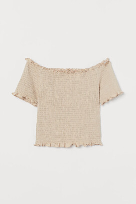 H&M Smocked Off-the-shoulder Top - Beige
