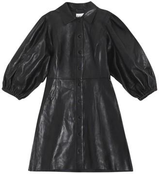 Ganni Mini Leather Shirt Dress