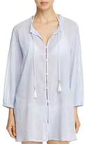 Tommy Bahama Striped Gauze Button-Front Shirt Dress Swim Cover-Up