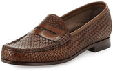Tom Ford Neville Woven Leather Penny Loafer, Brown