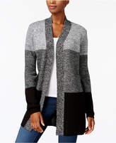 Karen Scott Colorblocked Open-Front Cardigan, Created for Macy's