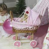 Little Ella James Wicker Doll's Pram With Pink Gingham Hood