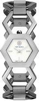 Tory Burch Amelia Silvertone Hexagon-Link Bracelet Watch