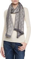 Gucci Exclusive Gold Shimmer GG Pattern Scarf, Silver