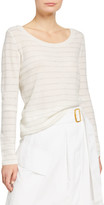 Vince Double Scoop-Neck Striped Cashmere Sweater