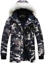 Partiss Men's Camouflage Warm Coat With Hood