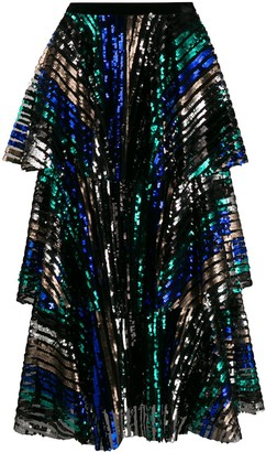 In The Mood For Love Tiered Sequin Skirt