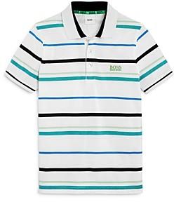 HUGO BOSS Boys' Striped Logo Polo Shirt- Little Kid, Big Kid