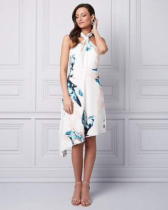 Le Château Leaf Print Crepe de Chine Halter Dress