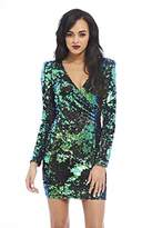 AX Paris Women's Colored Long Sleeve Wrap Front Sequin Covered Bodycon