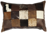 Wooded River Miscellaneous Patch Leather Hair on Hide Pillow, 12x18 w/ Fabric Back