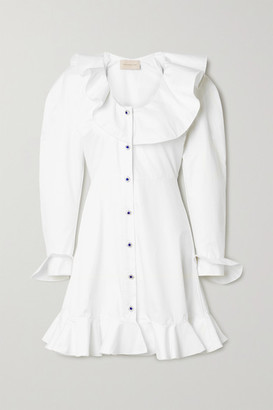 Christopher Kane Ruffled Cotton-poplin Mini Dress - White