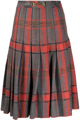 Céline Pre-Owned Plaid Box Pleated Skirt